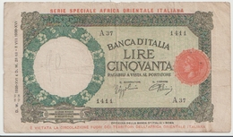 ITALIAN EAST AFRICA P. 1a 50 L 1938 VF - [ 6] Kolonies