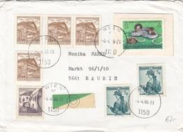 ÖSTERREICH Brief 1986 - 8 Fach MIF + Etikett Auf Brief Gel.v. Wien > Rauris - 1945-.... 2. Republik