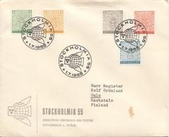 SCHWEDEN Brief 1955 - 5 Fach MIF Auf Firmen-Brief Gel.v. Stockholm > Oulu Finnland - Briefe U. Dokumente