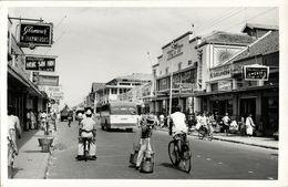 Indonesia, JAVA BANDUNG, Djl. Raja Barat, Toko De Zon, Bus, Bike (1950s) RPPC - Indonésie