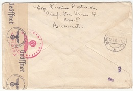 RUMÄNIEN EXPRESS RECO ZENSUR Brief 1941 - 4 Fach Block Auf Brief + Roter Zensurstempel Gel.v. Bucarest > LAGER 151 BU .. - 1918-1948 Ferdinand, Carol II. & Mihai I.