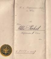 K.K. POSTSPARKASSENAMT WIEN - Handgeschriebenes Dokument Datiert 1897, Siegel D.PSK, A3 Foemat, Doppelseitig, Gefaltet - Historische Dokumente