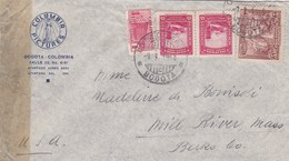 1945 AIRMAIL COLOMBIA- COLUMBIA PICTURES. CIRCULEE TO USA. OPENED BY CENSOR, MIXED STAMPS - BLEUP - Colombie