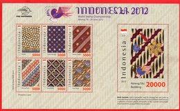 Indonesia MS 2012, Special With Original Batik Cloth. World Stamp Championship - Indonesia