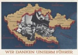 Deutsches Reich Postkarte Propaganda 1938 Wir Danken Unseren Fuhrer - Briefe U. Dokumente