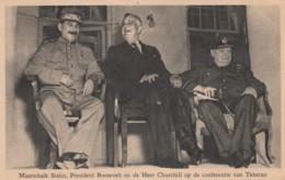 Postcard Conferation Teheran Stalin Roosevelt Churchil - Czechoslovakia