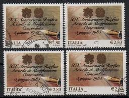 """Italia - Repubblica 2005 """"20º Anniversario Concordato Tra La Santa Sede E L'Italia €. 2,80"""" Usato Lotto Di Quattro - 6. 1946-.. Republic"""