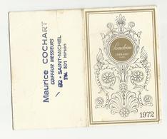 Calendrier Parfum Cheramy Sandrine 1972  Coiffeur Hirson Aisne - Perfume Cards