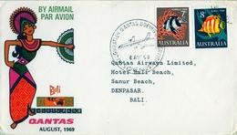1969 , AUSTRALIA  ,  SYDNEY - DENPASAR ( BALI ) , LLEGADA AL DORSO , PRIMER VUELO QANTAS - 1966-79 Elizabeth II