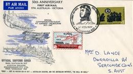 1967 , AUSTRALIA  ,  50 ANIVERSARIO DEL PRIMER CORREO AÉREO  S. AUSTRALIA - VICTORIA - 1966-79 Elizabeth II