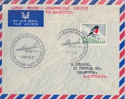 1967 , AUSTRALIA  ,  PRIMER VUELO QANTAS BOEING JET , VIA MAURITIUS , TRÁNSITO DE PORT LOUIS - 1966-79 Elizabeth II