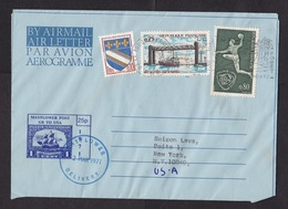 UK: Aerogramme To USA, 1971, Postal Strike: Cancel Mayflower Private Service, Via France, 3 Stamps (traces Of Use) - 1952-.... (Elizabeth II)