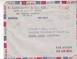 1950'S VIETNAM AIRMAIL- F.KANEMATSU & CO. CIRCULEE TO ARGENTINE, FRANKING MACHINE- BLEUP - Viêt-Nam