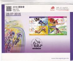 2016 MACAU SPECIAL CARD GAMES JOGOS 2016 SPORTS TBE- BLEUP - FDC