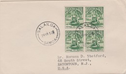 1/2d Samoan Girl And Kava Bowl (4) 1952 Salailua, Samoa To Eatontown, N.J. Small Creases.  Philatelic. - Samoa