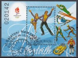 UNGARN Block 219 A, Gestempelt (Motiv Ammonit), Olympische Winterspiele 1992, Albertville 1991 - Blocchi & Foglietti