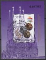 UNGARN Block 222 A, Gestempelt (Motiv Ammonit), Medaillengewinne Bei Den Olympischen Sommerspielen In Barcelona 1992 - Hojas Bloque