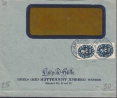 INFLA  DR Dienst  2x 38 MeF, Geprüft: Peschl, Auf Brief Der Luitpold-Hütte, Gestempelt: Amberg ? - Oficial