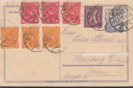 INFLA  DR P 149 A + ZFr. 183 B, 3x 205, 2x 206, 225, Postreiter, Gestempelt: Meersburg 19.3.1923 - Deutschland