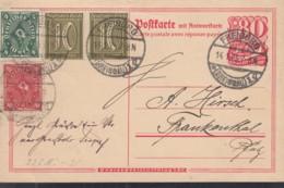 INFLA  DR P 145 F + ZFr. 2x 159 A, 206, 226 A, Postreiter, Gestempelt: Freiburg B. 14.1.1923 - Allemagne