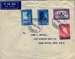 1960 , MALAYA , MALAISIE  - PERAK , TAIPING - MICHIGAN , SULTÁN YOUSSOUF IZZUDDIN , CORREO AÉREO - Perak