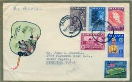 1959 , MALAYA , MALAISIE  - PERAK , TAIPING - MICHIGAN , FRANQUEO MÚLTIPLE , CORREO AÉREO - Perak
