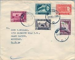 1961 , MALAYA , MALAISIE  - SELANGOR , KUALA LUMPUR - MICHIGAN , FRANQUEO MÚLTIPLE , SOBRE CIRCULADO - Selangor