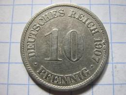 10 Pfennig 1907 (F) - [ 2] 1871-1918 : German Empire