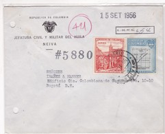 1956 COLOMBIA COMMERCIAL COVER- JEFATURA CIVIL Y MILITAR DEL HUILA. CIRCULEE- BLEUP - Colombie