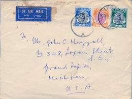 1951 , MALAYA , MALAISIE  - PERAK  - MICHIGAN , SOBRE CIRCULADO , SULTÁN YOUSOUF IZZUDDIN - Perak