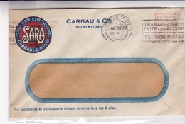 1947 URUGUAY COMMERCIAL COVER-SARA YERBA MATE, CARRAU Y CIE. CIRCULEE, BANDELETA PARLANTE- BLEUP - Uruguay