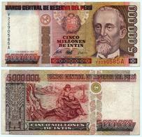 PERU - 5000000 5,000,000 INTIS REPLACEMENT NOTE P-149 1990 - VF - Peru