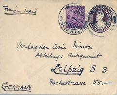 1929 INDIA , SOBRE ENTERO POSTAL CIRCULADO A LEIPZIG , FRANQUEO COMPLEMENTARIO , ONE ANNA - Sobres