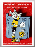 SUPER PIN'S HANDBALL SUISSE : Le LAPIN Pour Les 50 Ans Du CLUB De HANDBALL HCR En 1993, émail Vernissé 2,1X2,8cm - Handball