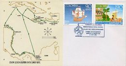 Lote 1859-60F, Colombia, 1991, FDC, SPD, America Upaep, Colon Travel Map, Indigenous, Not Perfect Stamp - Colombie