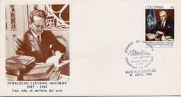 Lote 1867F, Colombia, 1992, SPD - FDC, Indalecio Lievano Aguirre, ONU, Personage - Colombia