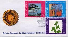 Lote 1893-4-5F, Colombia, 1992, SPD - FDC, Quinto Centenario, Colon, Columbus, Art - Colombia