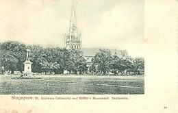 "4797 "" SINGAPORE - ST. ANDREWS CATHEDRAL AND RAFFLE'S MONUMENT.ESPLANADE  "" - CART. POST. ORIGINALE NON SPED. - Singapore"