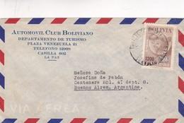 1950'S BOLIVIA AIRMAIL- AUTOMOVIL CLUB BOLIVIANO, CIRCULEE TO BUENOS AIRES- BLEUP - Bolivie