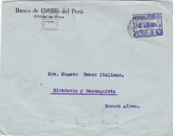 1940'S PERU COMMERCIAL COVER-BANCO DE CREDITO DEL PERU. CIRCULEE TO ARGENTINE, BANDELETA PARLANTE- BLEUP - Peru