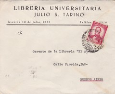 1949 URUGUAY COMMERCIAL COVER-LIBRERIA UNIVERSITARIA JULIO S.TARINO. CIRCULEE TO ARGENTINE- BLEUP - Uruguay