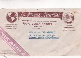 1942 PERU COMMERCIAL COVER- LA PRENSA MUNDIAL. CIRCULEE VIA AEREA TO ARGENTINE- BLEUP - Peru