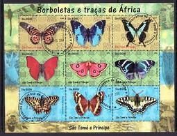 St. Thomas, 2004 Issue. Butterflies Sheet Of 9. C.T.O. - Schmetterlinge