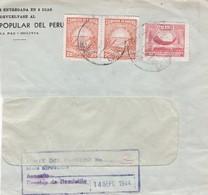 1944 BOLIVIA COMMERCIAL COVER-BANCO POPULAR DEL PERU, CIRCULEE, TIMBRE A PAIR- BLEUP - Bolivie