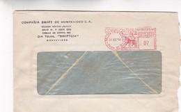 1954 URUGUAY COMMERCIAL COVER-COMPAÑIA SWIFT DE MONTEVIDEO. CIRCULEE, FRANKING MACHINE- BLEUP - Uruguay