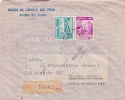 1945 PERU COMMERCIAL COVER-BANCO DE CREDITO DEL PERU. CIRCULEE TO BUENOS AIRES, REGISTERED- BLEUP - Peru