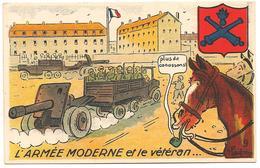 L'ARMEE MODERNE ET LE VETERAN Militaria Humour ILLUSTRATEUR Cheval - Umoristiche