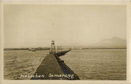 Indonesia, JAVA SEMARANG, Pelabuhan Harbour, Lighthouse (1920s) RPPC - Indonesië