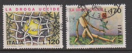 Italy Republic S 1363-1364 1977 Fight Against Drug Abuse,used - 6. 1946-.. Republic