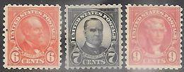 US  1925  Sc#587-8, 590   6c/7c/9c  Presidents  MH     2016 Scott Value $27.75 - United States